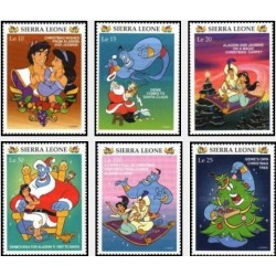 6 رقم از 8 عدد تمبر کریستمس - علاءالدین - کاراکترهای والت دیسنی  -سیرالئون 1997