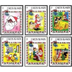 6 رقم از 9 عدد تمبر کریستمس - والت دیسنی - جزایر کایکو 1983