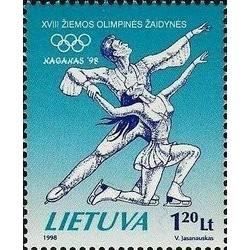 1 عدد تمبر بازیهای المپیک زمستانی ناگانو ژاپن - لیتوانی 1998