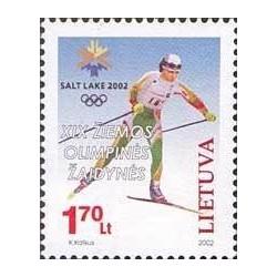 1 عدد تمبر بازیهای المپیک زمستانی سالت لیک سیتی آمریکا - لیتوانی 2002