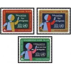3 عدد تمبر آموزش برای پیشرفت - یونسکو - نیویورک سازمان ملل 1964