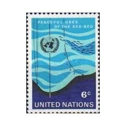 1 عدد تمبر استفاده صلح آمیز از بستر دریاها - نیویورک سازمان ملل 1971
