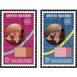 2 عدد تمبر کنفرانس بازرگان و توسعه سازمان ملل - نیویورک سازمان ملل 1976