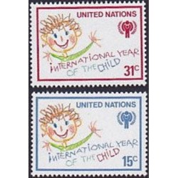 2 عدد تمبر سال بین المللی کودک - نیویورک سازمان ملل 1979