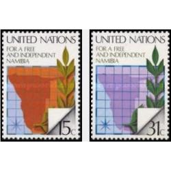 2 عدد تمبر نامیبیای آزاد و مستقل - نیویورک سازمان ملل 1979