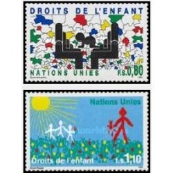 2 عدد تمبر حقوق کودکان - ژنو سازمان ملل 1995 قیمت 3.4 دلار