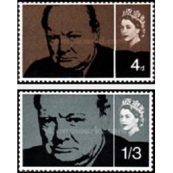 2 عدد تمبر  یادبود وینستون چرچیل - انگلیس 1965