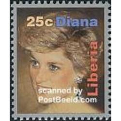 1 عدد تمبر مرگ دایانا - لیبریا 1998