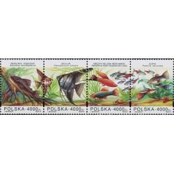 4 عدد تمبر ماهیهای آکواریومی - B - لهستان 1994