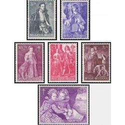 6 عدد تمبر مبارزه علیه سل - تابلو نقاشی - بلژیک 1964