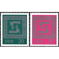 2 عدد تمبر 50مین سالگرد سازمان بین المللی کار - جمهوری دموکراتیک آلمان 1969