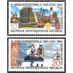 2 عدد تمبر 18مین فستیوال کار در روستوک - جمهوری دموکراتیک آلمان 1980