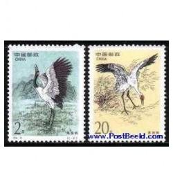 2 عدد تمبر پرنده - تمبر مشترک آمریکا - چین 1989
