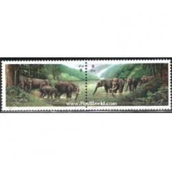 2 عدد تمبر فیلها - تمبر مشترک با تایلند - چین 1995