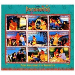 مینی شیت کاراکترهای کارتونی والت دیسنی - پوکوهانتس - 1 - گویانا 1995