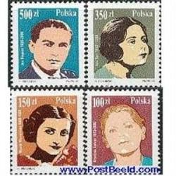 4 عدد تمبر خوانندگان - لهستان 1990