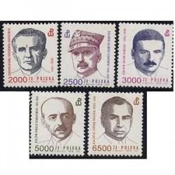 5 عدد تمبر دولت تبعید - لهستان 1991