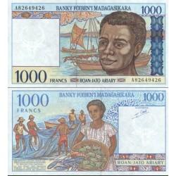 اسکناس 1000 فرانک - 200 آریاری - ماداگاسکار 1994