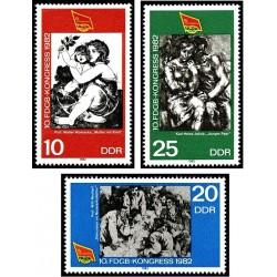 3 عدد تمبر کنگره اتحادیه بازرگانی - تابلو - جمهوری دموکراتیک آلمان 1982