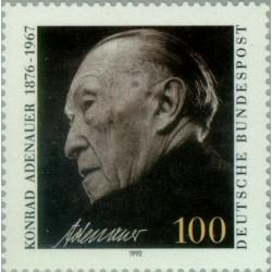 1 عدد تمبر یادبود کونراد ادناور - صدراعظم آلمان - جمهوری فدرال آلمان 1992