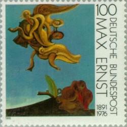 1 عدد تمبر ماکس ارنست - گرافیست - تمبر مشترک با فرانسه - آلمان 1991