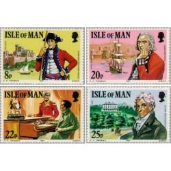 4 عدد تمبر 150مین سال مرگ کلنل ویلک -  جزیره من 1981