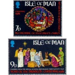 2 عدد تمبر کریستمس - سال معلولین -  جزیره من 1981