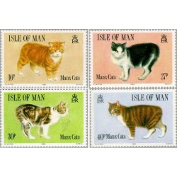 4 عدد تمبر گربه های مانکس -  جزیره من 1989 قیمت 6.5 دلار