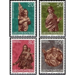4 عدد تمبر  کریستمس -مجسمه ها - لیختنشتاین 1977