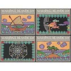 4 عدد تمبر استقلال پستی - جزایر مارشال 1984