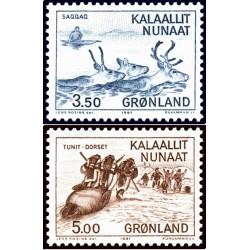 2 عدد تمبر فرهنگ باستانی گرین لند - گرین لند 1981