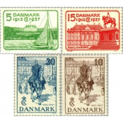 4 عدد تمبر 25مین سالگرد جلوس شاه کریستین بر تخت سلطنت  - دانمارک 1937 قیمت 42 دلار