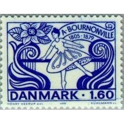 1 عدد تمبر صدمین سال مرگ آگوست برونویل - استاد باله - دانمارک 1979