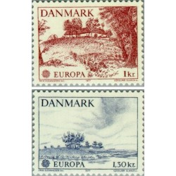 2 عدد تمبر مشترک اروپا - Europa Cept - مناظر  - دانمارک 1977 قیمت 4.1 دلار
