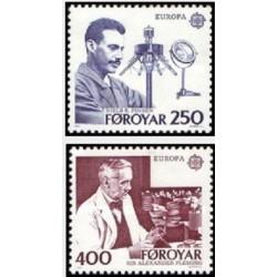 2 عدد تمبر مشترک اروپا - Europa Cept - محققان نامدار - الکساند فلمینگ - جزایر فارو 1983
