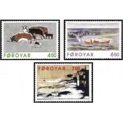 3 عدد تمبر تابلو اثر جانوس کامبن  - جزایر فارو 1996 قیمت 4.1 دلار