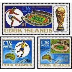 3 عدد تمبر جام جهانی فوتبال آلمان غربی - جزایر کوک 1974