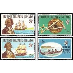 4 عدد تمبر کشتیها و ناخداها - جزایر سلیمان 1972 قیمت 6.8 دلار