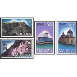 4 عدد تمبر کلیساها و صومعه ها - مولداوی 2000