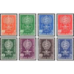 8 عدد تمبر ریشه کنی مالاریا - مالدیو 1962