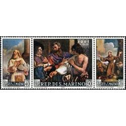 3 عدد تمبر تابلو نقاشی اثز باربیری - سان مارینو 1967