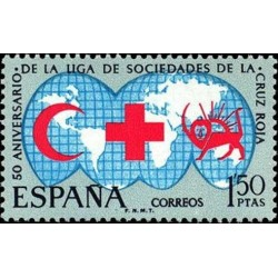 1 عدد تمبر صلیب سرخ بین المللی - شیر و خورشید - اسپانیا 1969