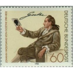 1 عدد تمبر یوهان ولفگانگ فون گوته - شاعر - آلمان 1982