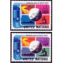2 عدد تمبر استفاده صلح آمیز از فضا - نیویورک سازمان ملل 1974