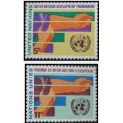 2 عدد تمبر برنامه توسعه سازمان ملل - نیویورک سازمان ملل 1967