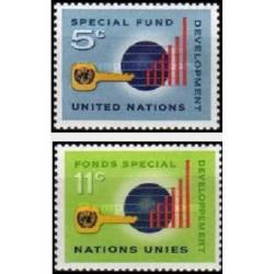 2 عدد تمبر صندوق ویژه ی سازمان ملل - نیویورک سازمان ملل 1965