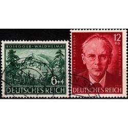 2 عدد تمبر یادبود پیتر روزگر - نویسنده و شاعر اتریشی - رایش آلمان 1943  مهرخورده