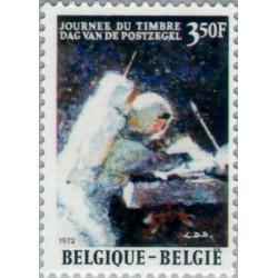1 عدد تمبر روز تمبر - فرود بشر روی ماه - بلژیک 1972
