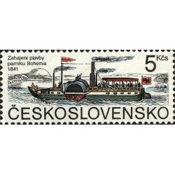 1 عدد تمبر کشتی بخار پاروئی بوهمیا - چک اسلواکی 1991