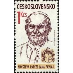 1 عدد تمبر بازدید پاپ - چک اسلواکی 1990